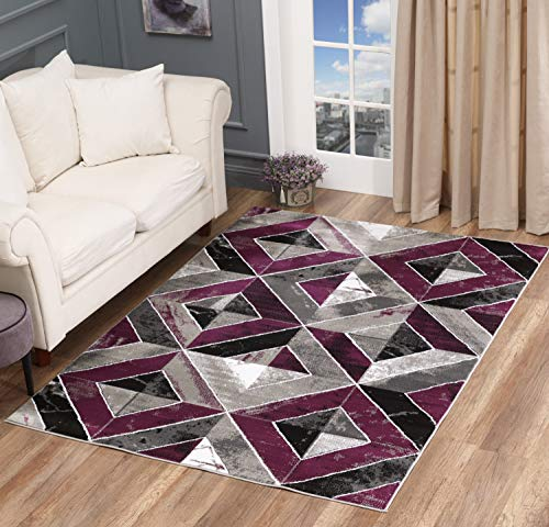 GLORY RUGS Area Rug Abstract Diamond Modern Modern Distressed Carpet Bedroom Living Room Contemporary Dining Accent Sevilla Collection 5504A (8x10, Purple)