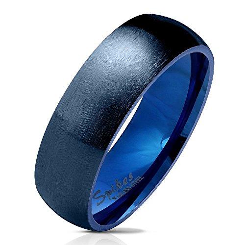 Bungsa 52 (16.6) Blauer Ring für Damen & Herren - Blau - Damenring aus Edelstahl matt - edler Edelstahlring geeignet als Verlobungsringe, Freundschaftsringe & Partnerringe