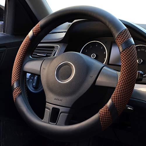 Violet XuanMax Universel D Forme Housse de Volant Microfiber Cuir Anti Slip Vehicule Couvre Volant de Voiture Couverture Respirant Auto Car Steering Wheel Cover 38cm