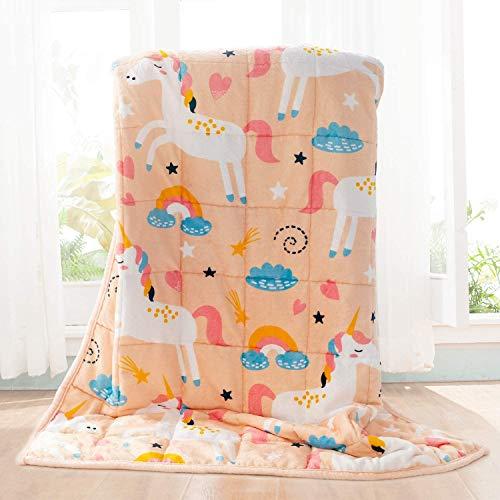 BUZIO Kinder gewichtete Decke 2,3kg, Einhorn Decke für Kinder mit 4 Farboptionen, Ultraweich und Gemütlich Schwere Decke, Toll zum Beruhigen und Schlafen, 91x121cm