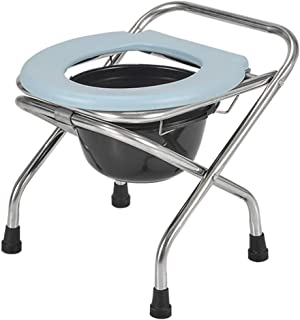 Portable Elderly Bedside Commode, PVC Plastic Mat + Stainless Steel Frame Toilet Seat for Camping Outdoor - Comfortable Folding Potty for Adults and Kids by