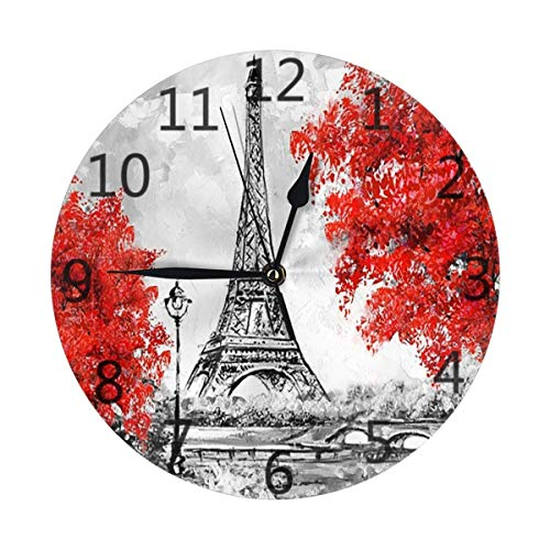 Paris Art Torre Eiffel Reloj de Pared Redondo Silencioso Sin