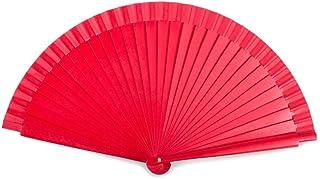 Sonnenscheinschuhe Roter glänzender Handfächer aus Holz 23cm rot Fächer Flamenco