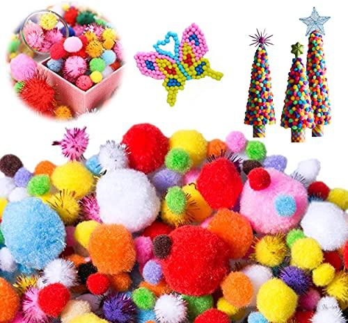 1200 Piezas Pompones de Colores Manualidades,Mini Pompones de Colores,Pompones Manualidades Brillantes,Bolas de Peluche para Manualidades de Bricolaje