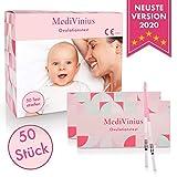 MediVinius Ovulationstest 50 Stück mit schnellem Ergebnis unter 10 Minuten I Zuverlässiger Fruchtbarkeitstest für Frauen I Fertility LH Test