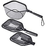 PLUSINNO Fly Fishing Net, Bass Trout Landing Net, Folding Fishing Nets Fresh Water, Safe Fish Catching or Releasing (17' x 12' Hoop Size)