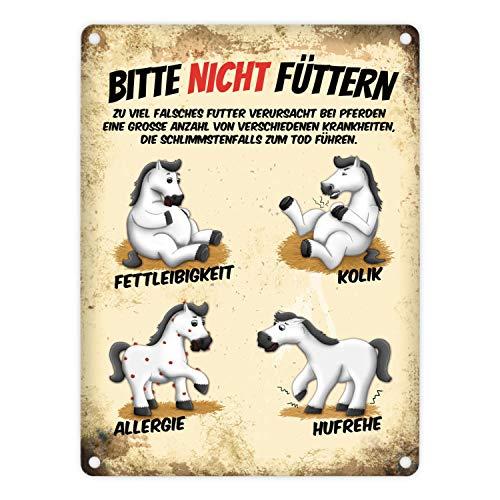 trendaffe - Metallschild mit weiße Pferde Motiv und Spruch: Bitte Nicht füttern