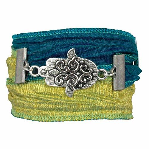 Anisch de la Cara Damen Wickel-Armband Hand of Fatima indischer Sari Seide Sea Green, ia-s-Green-Fatima