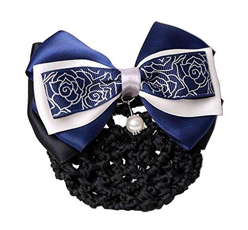 Elegant Ladies Snood Net Barrette Hairnets Housse de cheveux, Flower Navy #01