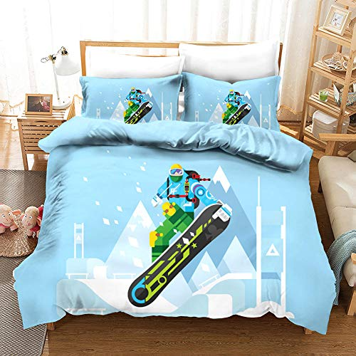 ECHODMFS Duvets Covers Pillowcase Cartoon ski Bedding 3-Pieces Double 200x200cm Bedding Comfortable Breathable Duvet Cover Set Fashion Home Bed Linings