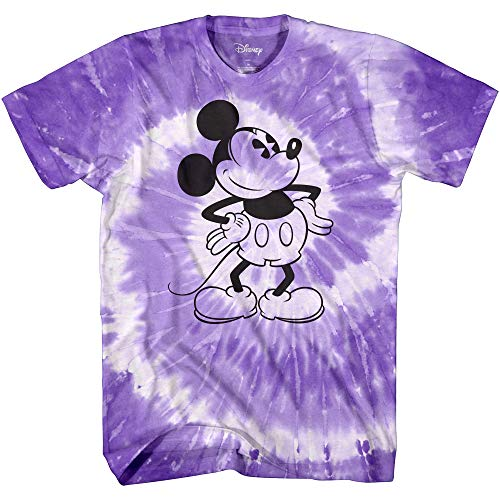 Mickey Mouse Attitude Tie Dye Classic Vintage Disneyland World Adult Tee Graphic T-Shirt for Men Tshirt Clothing Apparel (Purple Spiral Wash, X-Large)