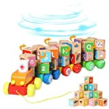 Arkmiido Trenes de Juguete de Madera para niños Juguetes educativos, Juego de Bloques de Letras del Alfabeto de 26 Piezas Juguete Montessori para 3 años + (20*23*10)