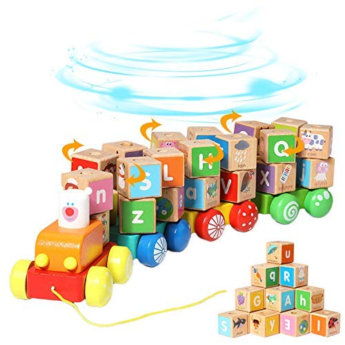 Holzbausteine Spielzeug for Kinder Montessori Spielzeug, Pull entlang hölzernem Zuge Spielzeug, 26 PCS Alphabet Block Set Lernspielzeug for 1 2 3 Jahre alt zcaqtajro