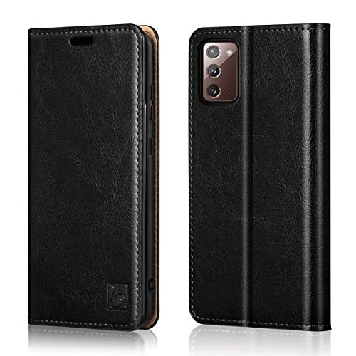 Belemay Wallet Case for Samsung Galaxy Note 20 5G, [Cowhide Leather] Flip Folio Cover [RFID Blocking] Card Holder Book Folding Case with Kickstand Cash Pocket Slim Fit for Galaxy Note 20 5G 6.7