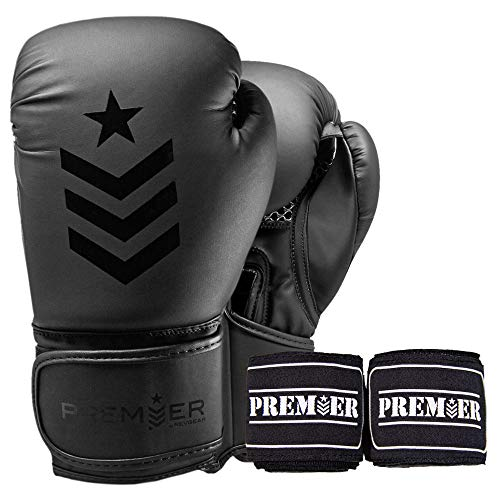 Revgear Premier Boxing Gloves (14 OZ) and Black Hand Wraps Bundle | Perfect for Hitting The Bag, Pads and Focus Mitts