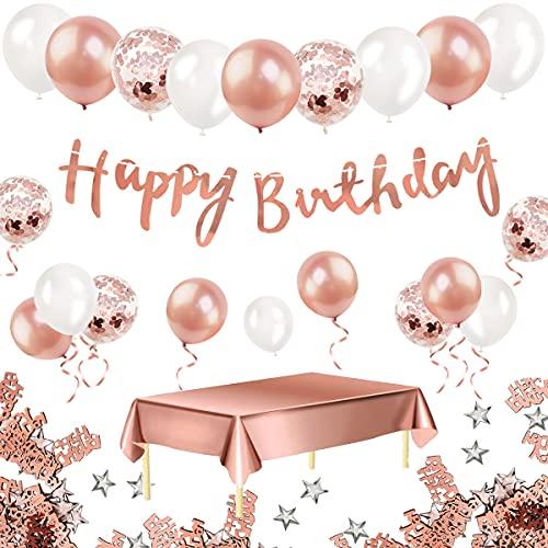 Humairc Geburtstagsdeko Rosegold Happy Birthday Girlande Rosa Golde Tischdecke Konfetti Luftballons Geburtstag Party Deko zum Mädchen Frauen 18th 30th 40th 50th
