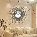 CNCEST Vintage Metal Crystal Sunburst Wall Clock Large Morden Home Decoration Luxury