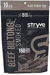 Stryve Keto Protein Snacks   100% All-Natural Beef Biltong   More Protein than Beef Jerky, Gluten Free, Low Carb, Paleo, Sugar Free   Smoked, 10oz