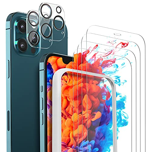 Glass Screen Protector 4 Pack and Camera Lens Protector 2 Pack Compatible with iPhone 12 Pro Max 2020 6.7 Inch Anti-Scratch Bubble Free Case Friendly 9H Hardness HD Clear Tempered Glass with Easy Installation Frame
