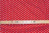 AllTissus Stoff Viskose, Bedruckt, kleine Punkte, Rot/Weiß