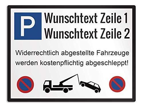 50x37.5cm 75cm Alu-Verbundplatte mit Einschlagpfosten Querformat mit Ihrem Logo//Bild und Wunschtext Canvarto Gestaltbares Parkplatzschild mit Parkzeichen
