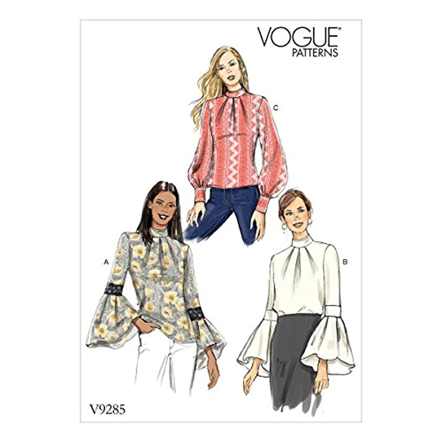 Vogue Patterns V9285E50 Misses' Top with Sleeve and Cuff Variations, 14-16-18-20-22 Green