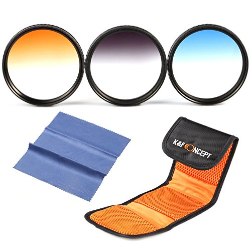 58mm Filter Set, K&F Concept 58mm Graduated Color Lens Filter Kit(Graduated Orange Blue Grey) Compatible with Canon Nikon Lens + Filter Pouch + Cleaning Cloth