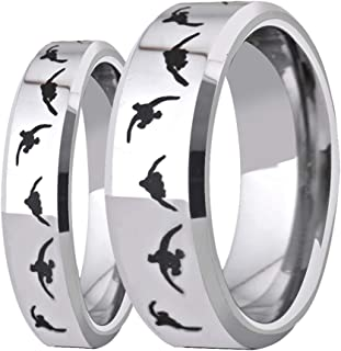 6mm/8mm Width Lover's Silver Bevel Wedding Band with Laser Etched Bird Duck Hunting Outdoor Ring, Comfort Fit