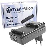 Trade-Shop - Cargador universal para teléfono móvil, batería de ion de litio de 3,7 V hasta 6,5 cm, base de carga giratoria 360°, apto para muchos teléfonos inteligentes, cámaras digitales