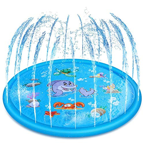 JOUET F Arroseur Pad Pataugeoire, Saupoudrer Tapis Jeu Splash Pad, Summer Essential Spray Toys Outdoor Garden Family Activities Children Kids Durable Portable Gifts