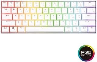 RK61 ゲーミングキーボード キーボード ワイヤレス,61 キー RGB 発光LEDバックライト付きUSB/Bluetooth 3.0両対応 多機能 メカニカルキーボード 赤軸 ホワイト