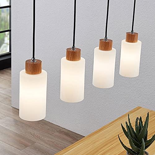Lámpara colgante 'Nicus' (Moderno) en Marrón hecho de Madera e.o. para Salón & Comedor (4 llamas, E27, A++) de Lindby | lámpara colgante de madera, lámpara colgante, lámpara, lámpara de techo, lámpara
