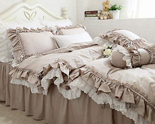 JDL Top Luxury European Khaki Bedding Set Ruffle lace Duvet Cover Bedding elegant Bedspread Bed Sheet for Wedding Decor Bed Clothes