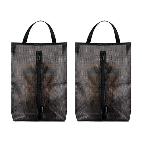 VALICLUD - 2 bolsas de zapatos de malla impermeable, bolsa organizadora con cremallera, portátil para hombre, mujer, viajes, gimnasio, deporte