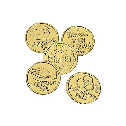 Religious Bible Verse Gold Coins (144 Pieces) Sunday School Supplies and VBS Prizes