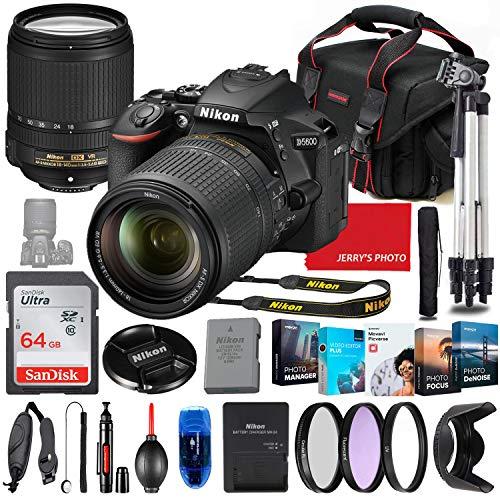 Nikon D5600 DSLR Camera with 18-140mm Lens Bundle + Premium Accessory Bundle Including 64GB Memory, Filters, Photo/Video Software Package, Shoulder Bag & More