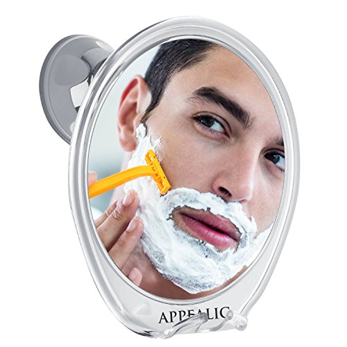 Fogless Shower Mirror for A Perfect No Fog Shaving or Makeup | Razor Holder & Rotating Power Lock Suction | Bonuses: High Quality Scissors, Tweezers & Pouch in a Luxury Gift Box | Appealic