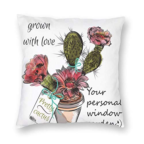 ZUL 3D Print Throw Pillow Covers,Sketch Prickly Pear Watercolor Style Exotic Tropic Succulent Plant For Window Garden,Decorative Square Cushion Covers Case for Sofa Couch Home Decor