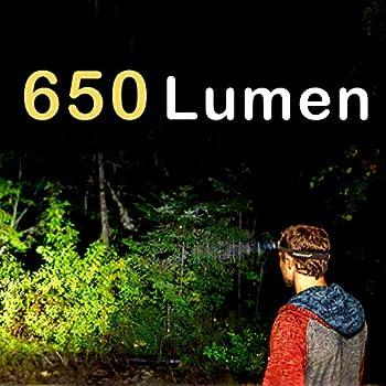 Everbeam Lampe Frontale LED H6 Pro, Détection de Mouvement, Éclairage : 650 Lumens, Autonome 30 Heures, Batterie 1200mAh Rechargeable USB, Lampe Torche Étanche, Camping, Randonnée, Pêche, Travail