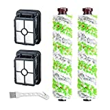 RONGJU 2 Packs Tangle-Free Multi-Surface Pet Brush Rolls + 2 Packs Vacuum Filters 1866 Replacement for Bissell CrossWave Vacuum Cleaner, Compare to Part 1613568&161-3568, 1608684