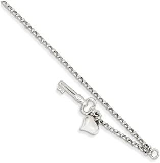 Finejewelers 10 Inch 14k White Gold Adjustable Polished Puffed Heart and Key Anklet