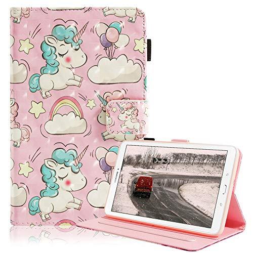 Billionn Case for Samsung Galaxy Tab E 9.6, 3D Sparkle Slim for Kids, Premium PU Leather Shockproof Smart Cover for Samsung Galaxy Tab E 9.6-Inch SM - T560/SM- T561, Pink Unicorn