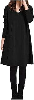 👗👗 Women Solid O-Neck Pocket Long Sleeve Casual Loose Mini Sweater Dress