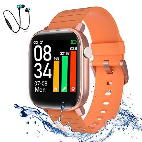 Smartwatch, Reloj Inteligente Impermeable IP68, Monitor de Sueño, Podómetro, wireless Bluetooth sports headset Reloj de Fitness con Podómetro Smart Watch Mujer Hombre para Android IOS (Naranja)