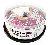 MP-Pro 25 Glossy Bedruckbare Blu-Ray Rohlinge BD-R 25GB Wide Inkjet Printable weiß, glänzende vollflächig bedruckbare Oberfläche für Tintenstrahldrucker