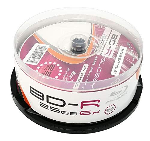MP-Pro 25 Glossy BD-R 25GB Inkjet Printable Weiß Bedruckbare Blu-Ray Rohlinge mit Glänzende Vollflächig Bedruckbare Oberfläche für Tintenstrahldrucker