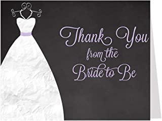 Bridal Shower Thank You Cards, Chalkboard, Wedding, Gown, Dress, Purple, Bride to Be, Future Mrs., Soon to Be Mrs., Blackboard, Set of 50 Folding Notes with Envelopes, Chalkboard Gown (Lavender)