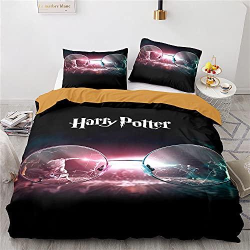 Funda Nordica Harry Potter 135X200 Cm Juego De Cama 3 Piezas Impresión Digital 3D, Antialérgica, Suave Y Cómoda Fundas Nordicas Juveniles con 2 Fundas De Almohada 50X70Cm