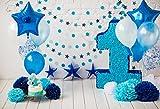 Cassisy 1,5x1m Vinilo 1er cumpleaños Telon de Fondo Bebé Decoracion De Globos Azules Flor De Artesanía Pared De Ladrillo Fondos para Fotografia Party bebé Infantil Photo Studio Props Photo Booth