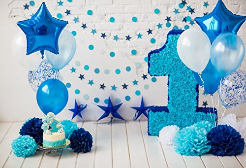 Cassisy 3x2m Vinyl 1.Geburtstag Fotohintergrund Baby Junge Blauer Ballon Dekor Craft Flower Brick Wall Fotoleinwand Hintergrund für Fotoshoot Fotostudio Requisiten Party Baby Photo Booth